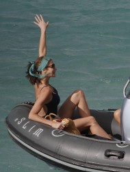 Stephanie Seymour - wearing a swimsuit on the beach in St. Barts 12/28/12