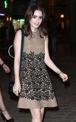 Lily Collins - Louis Vuitton store opening in Paris 3/5/13