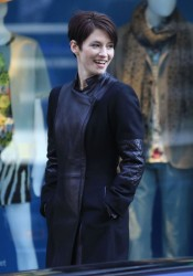 Chyler Leigh - on the set of 'Winter Wonderland' in Vancouver 3/9/13