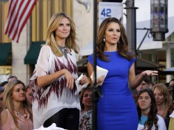 Maria Menounos & Heidi Klum - on the set of Extra in LA 3/14/13