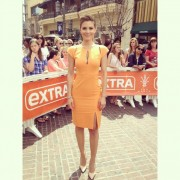 Maria Menounos on the set of Extra in Los Angeles 4/4/13