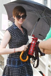 Anne Hathaway - on the set of 'Song One' in NYC 6/24/13