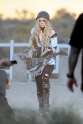 Avril Lavigne - on the set of her 'Rock N Roll' music video in LA 7/26/13, ADDS(2x)