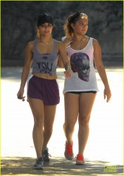 Vanessa & Stella Hudgens - go for a hike in Studio City 8/20/13