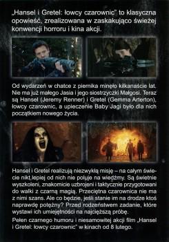 Tył ulotki filmu 'Hansel i Gretel: Łowcy Czarownic'