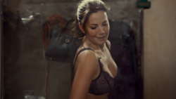 erica durance sexy strip - boobs in black bra