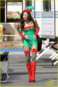 Lea Michele & Naya Rivera - Shooting a Christmas scene for Glee in Burbank 11/7/13