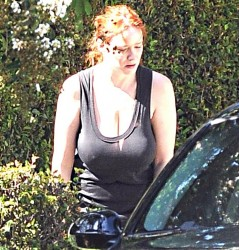 Christina Hendricks Braless in a Tank Top in Los Angeles on November 6, 2013