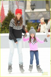 Jamie Chung - ice skating in NYC 11/25/13