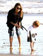 Jessica Alba - At the beach in Malibu 12/1/13
