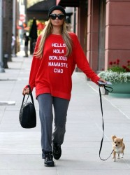 Paris Hilton - Walking her dog in Beverly Hills 4/8/15