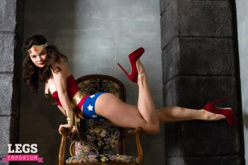 Elena Samoderzhenkova Sexy Cosplay Wonder Woman in Heels