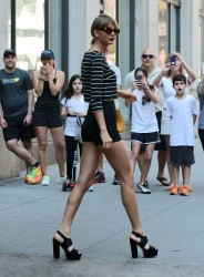 Taylor Swift - black shorts, leaving her apartment in NYC - 05/30/15